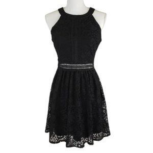 BY & BY Black Lace Dress, Sleeveless, Lined, 9